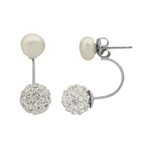 PearLustre by Imperial Sterling Silver Freshwater Cultured Pearl & Crystal Front Back Earrings