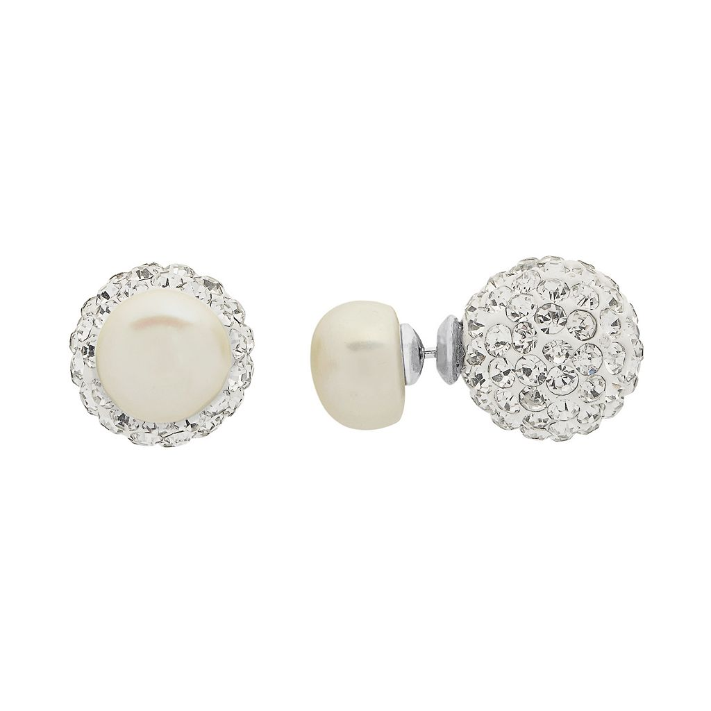 PearLustre by Imperial Sterling Silver Freshwater Cultured Pearl & Crystal Double Stud Earrings