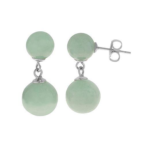 PearLustre by Imperial Sterling Silver Jade Drop Earrings