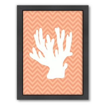 Americanflat Sea Chevron Coral Framed Wall Art