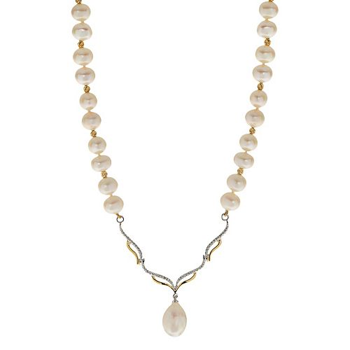 PearLustre by Imperial 14k Gold Over Silver Freshwater Cultured Pearl & White Topaz Necklace