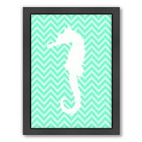 Americanflat Sea Chevron Seahorse Framed Wall Art