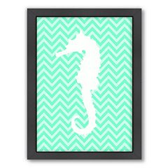 Americanflat Sea Chevron Seahorse Framed Wall Art
