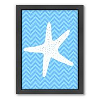 Americanflat Sea Chevron Starfish Framed Wall Art