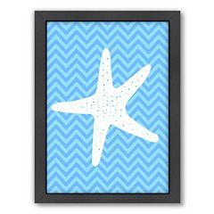 Americanflat Sea Chevron Starfish Framed Wall Art