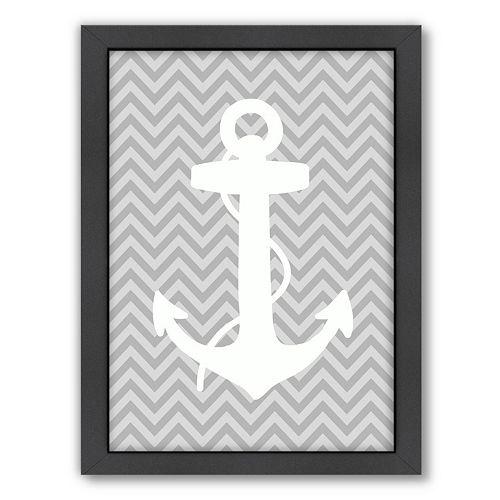 Americanflat Sea Chevron Anchor Framed Wall Art