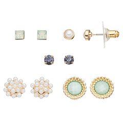 LC Lauren Conrad Simulated Pearl & Simulated Crystal Stud Earring Set