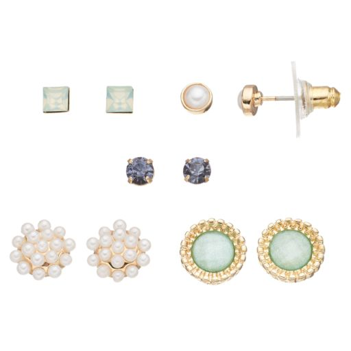 LC Lauren Conrad Simulated Pearl & Simulated Crystal Stud Earring Set
