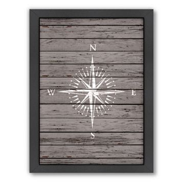 Americanflat Wood Quad Compass Framed Wall Art