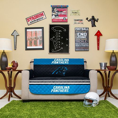 Carolina Panthers Quilted Loveseat Cover