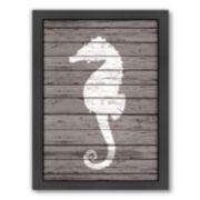 Americanflat Wood Quad Seahorse Framed Wall Art