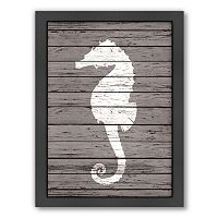 Americanflat Wood Quad Seahorse Framed Wall Art