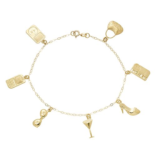 10k Gold City Living Charm Bracelet