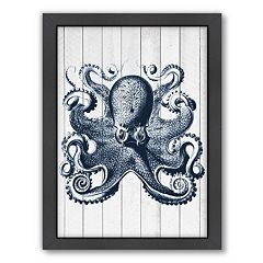 Americanflat Wood Vintage Octopus Framed Wall Art