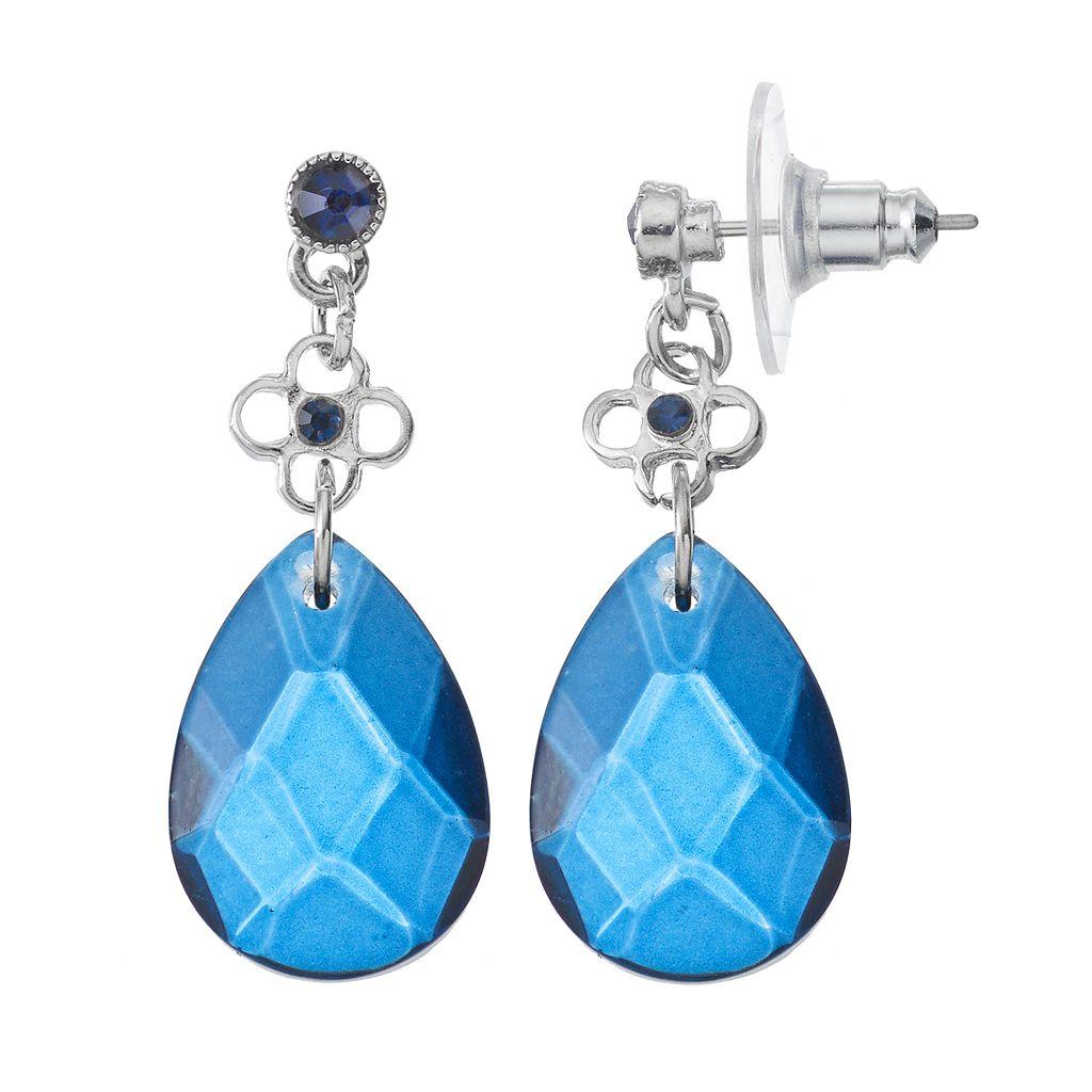 Blue Flower Nickel Free Teardrop Earrings