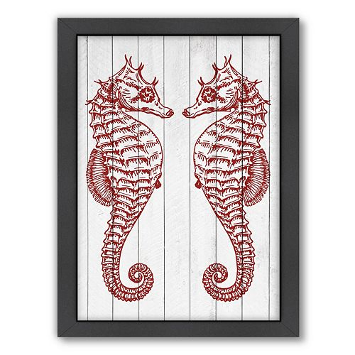 Americanflat Double Seahorse Wood Framed Wall Art