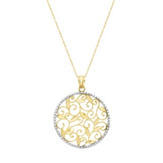 10k Gold Filigree Circle Pendant Necklace