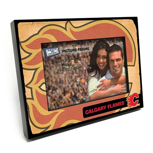"""Calgary Flames Vintage 4"""" x 6"""" Wooden Frame"""
