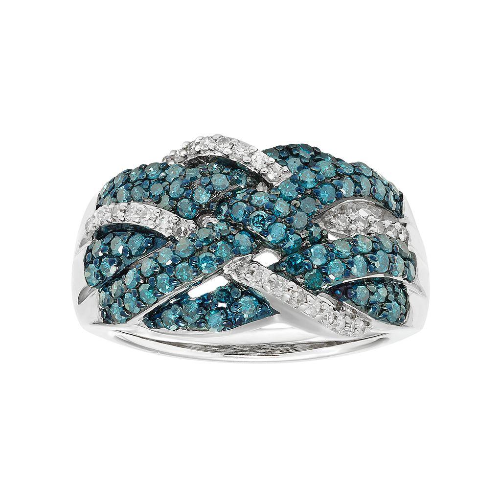 Sterling Silver 1 Carat T.W. Blue & White Diamond Crisscross Ring
