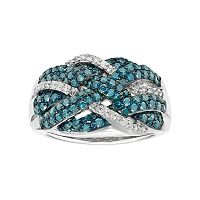 Sterling Silver 1 Carat T.W. Blue & White Diamond Crisscross Ring