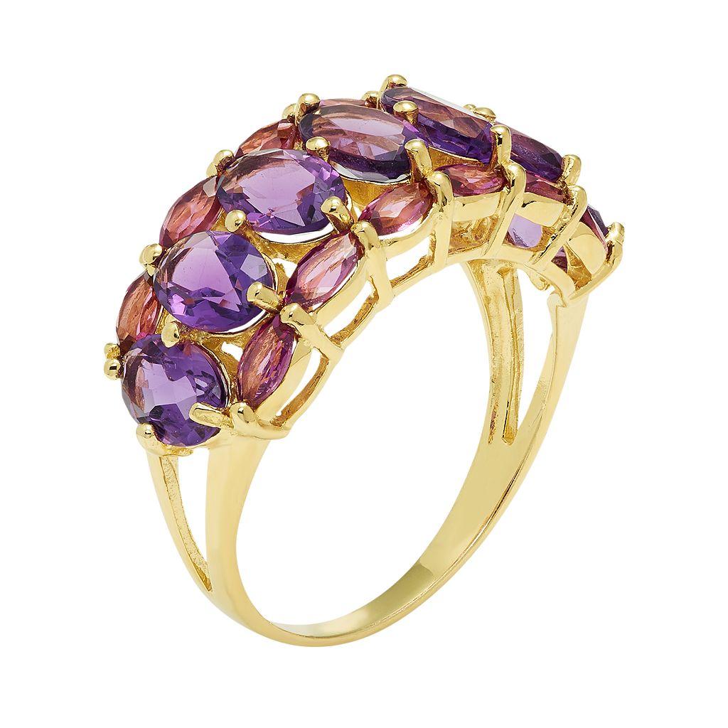 Sterling Silver Amethyst & Rhodolite Garnet Ring