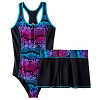 Girls Plus Size ZeroXposur Tropical Flower One-Piece & Skirt Swimsuit Set