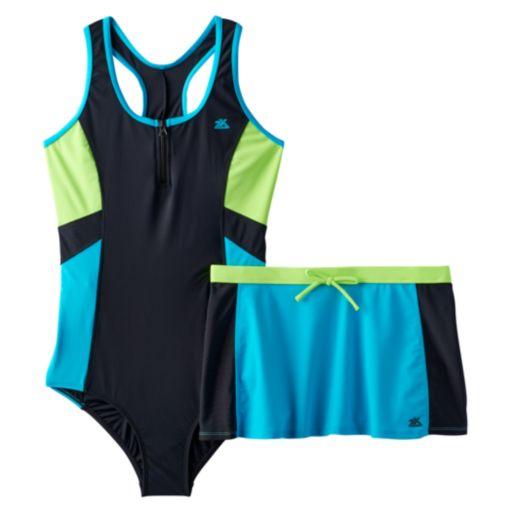 Girls Plus Size ZeroXposur One-Piece Racerback Swimsuit & Skirt Set