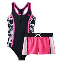 Girls Plus Size ZeroXposur Geometric Colorblock One-Piece Racerback Swimsuit & Shorts Set