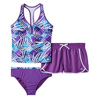 Girls Plus Size ZeroXposur Mesh Racerback Tankini Top, Bottoms & Dolphin Shorts Swimsuit Set