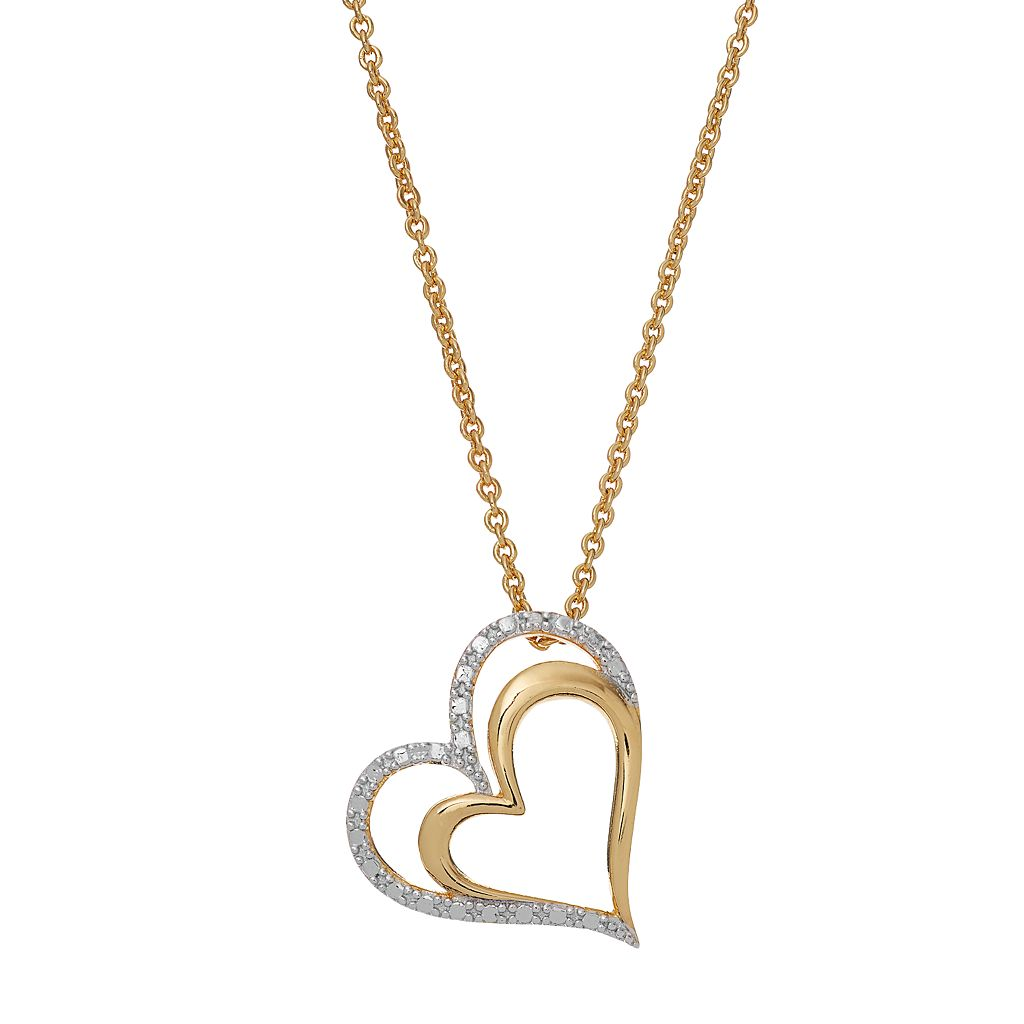 Delicate Diamonds 14k Gold Over Silver Heart Pendant Necklace