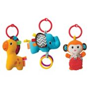 Infantino 3 pkTag Along Plush Travel Pals