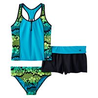 Girls Plus Size ZeroXposur Tropical Flower Racerback Tankini Top, Bottoms & Shorts Swimsuit Set