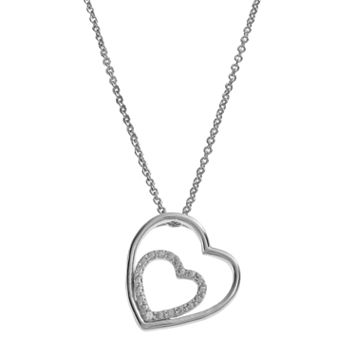 Delicate Diamonds Sterling Silver Double Heart Pendant