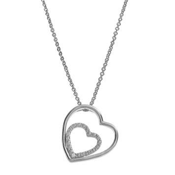 Delicate Diamonds Sterling Silver Double Heart Pendant