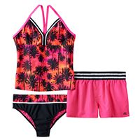Girls Plus Size ZeroXposur Racerback Palm Tree Tankini Top, Bottoms & Shorts Swimsuit Set