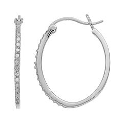 Delicate Diamonds Sterling Silver Oval Hoop Earrings