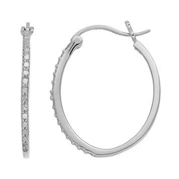 Delicate Diamonds Sterling Silver Oval Hoop Earrings