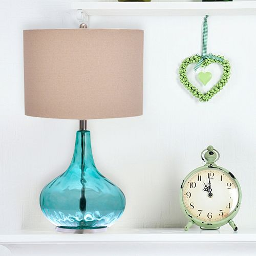 Catalina Teal Gourd Table Lamp