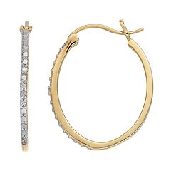 Delicate Diamonds 14k Gold Over Silver Oval Hoop Earrings