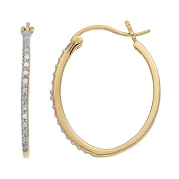 Delicate Diamonds 14k Gold Over Silver Oval Hoop Earrings