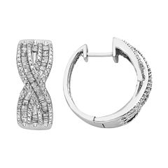 Sterling Silver 1 Carat T.W. Diamond X Hoop Earrings