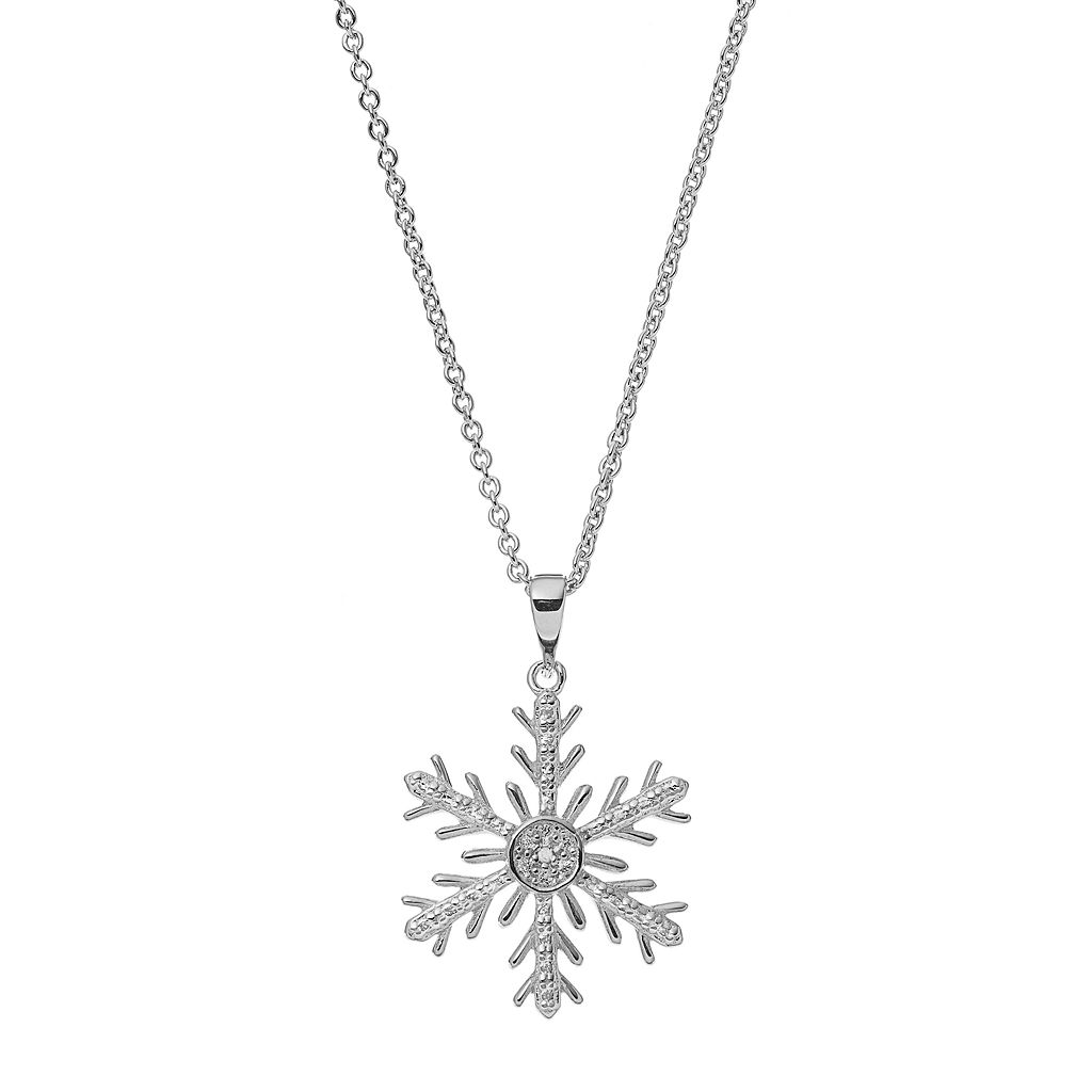 Delicate Diamonds Sterling Silver Snowflake Pendant Necklace