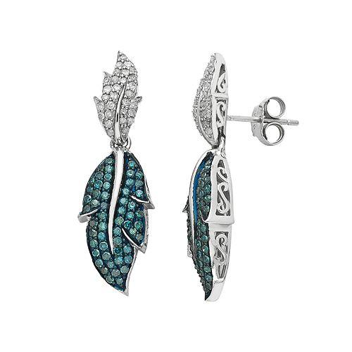 Sterling Silver 1 Carat T.W. Blue & White Diamond Leaf Drop Earrings