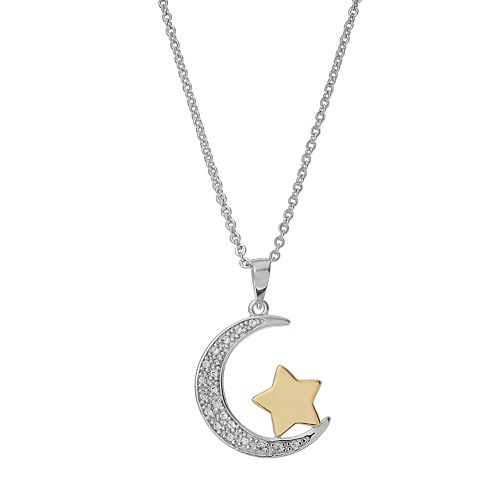 Delicate diamonds sterling silver moon star pendant necklace aloadofball Image collections