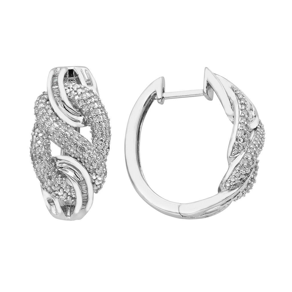 Sterling Silver 1 Carat T.W. Diamond Braided Hoop Earrings