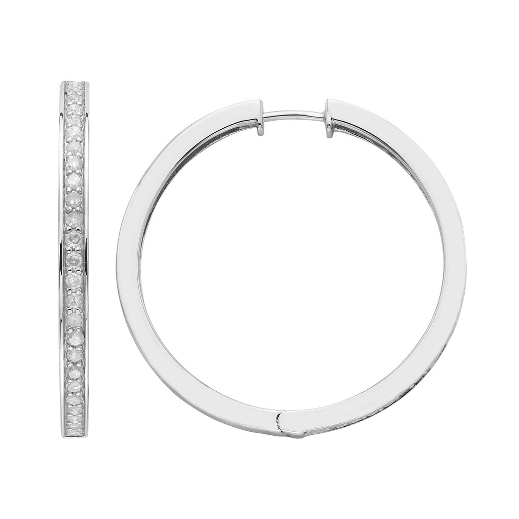 Sterling Silver 1 Carat T.W. Diamond Hoop Earrings