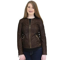 Women's MO-KA Embossed Faux-Leather Jacket