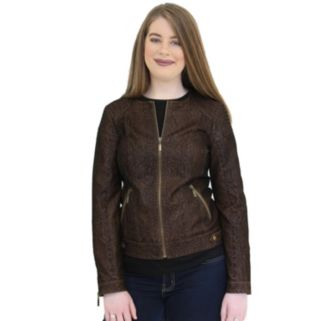 Women's MO-KA Embossed Faux-Leather Jacket