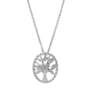 Delicate Diamonds Sterling Silver Family Tree Pendant Necklace