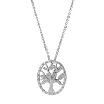 Delicate Diamonds Sterling Silver Family Tree Pendant Necklace